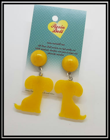 Yellow dog drop earrings