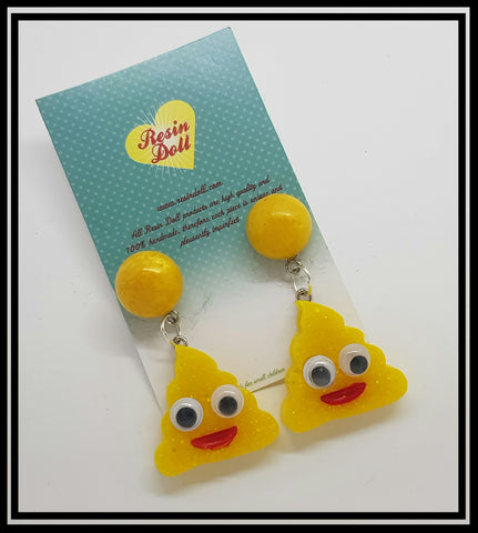 Poo drop earrings yellow