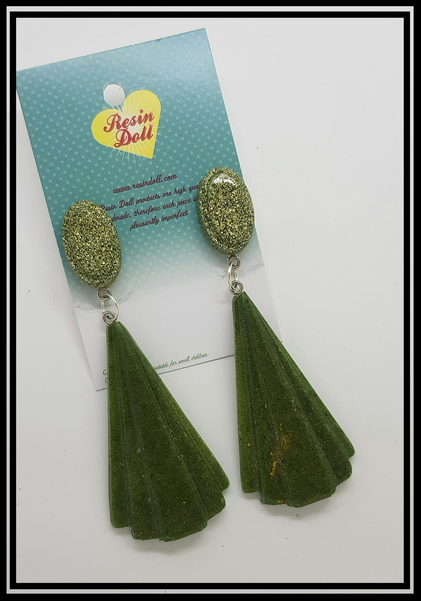 Green and gold Lrg Deco drop earrings