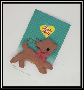 Brown Lamb Brooch (pink)