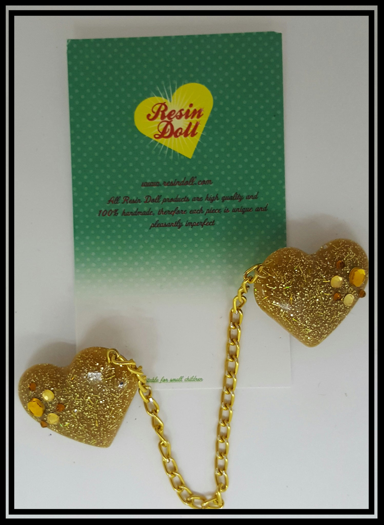 Gold glitter heart with bling cardigan clip