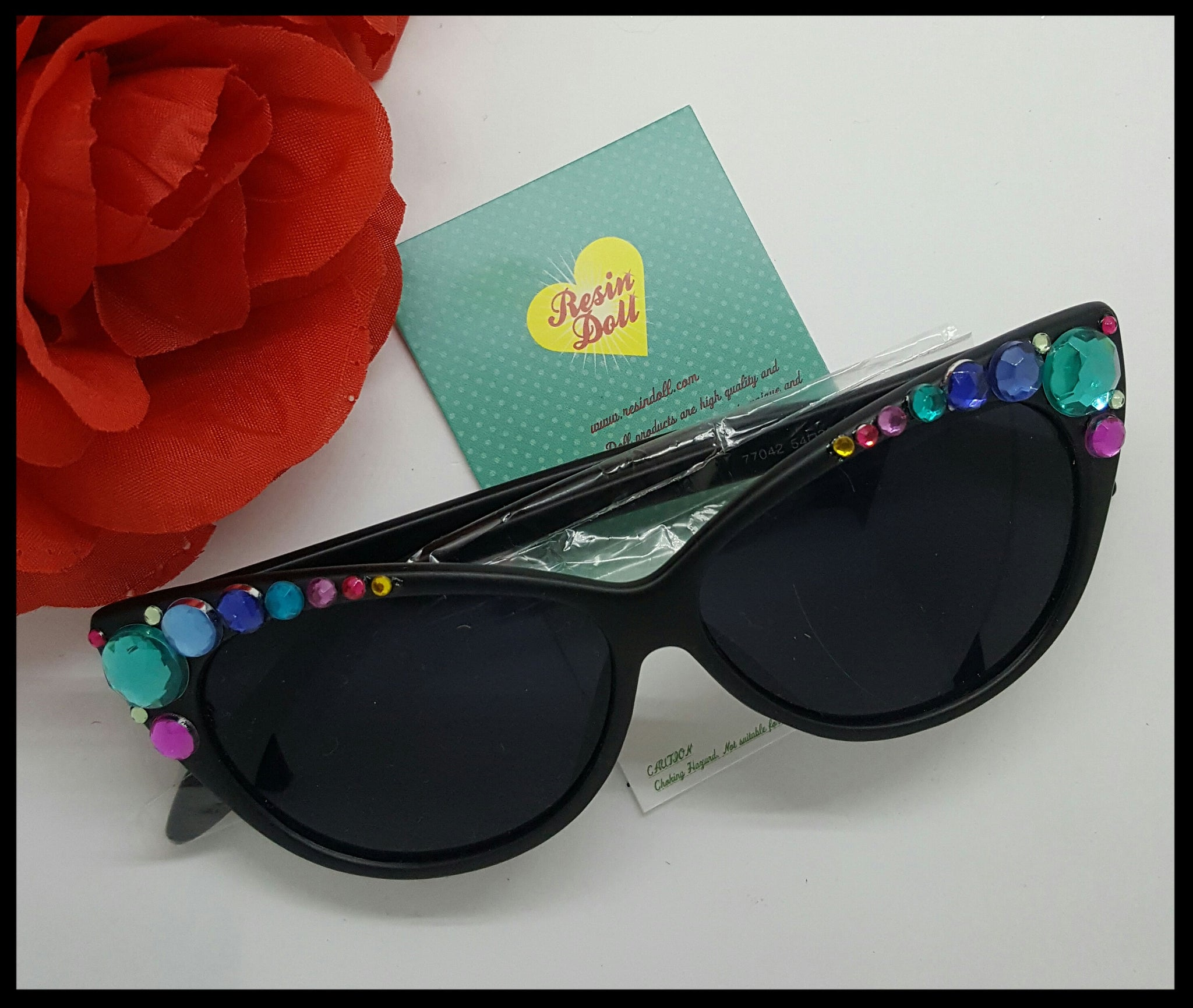 Lrg multi colour bling, matt black frame