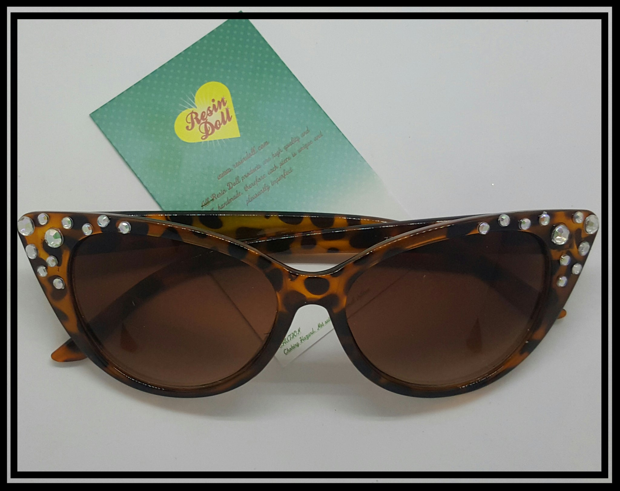Simple Cheetah print bling cat eye sunglasses