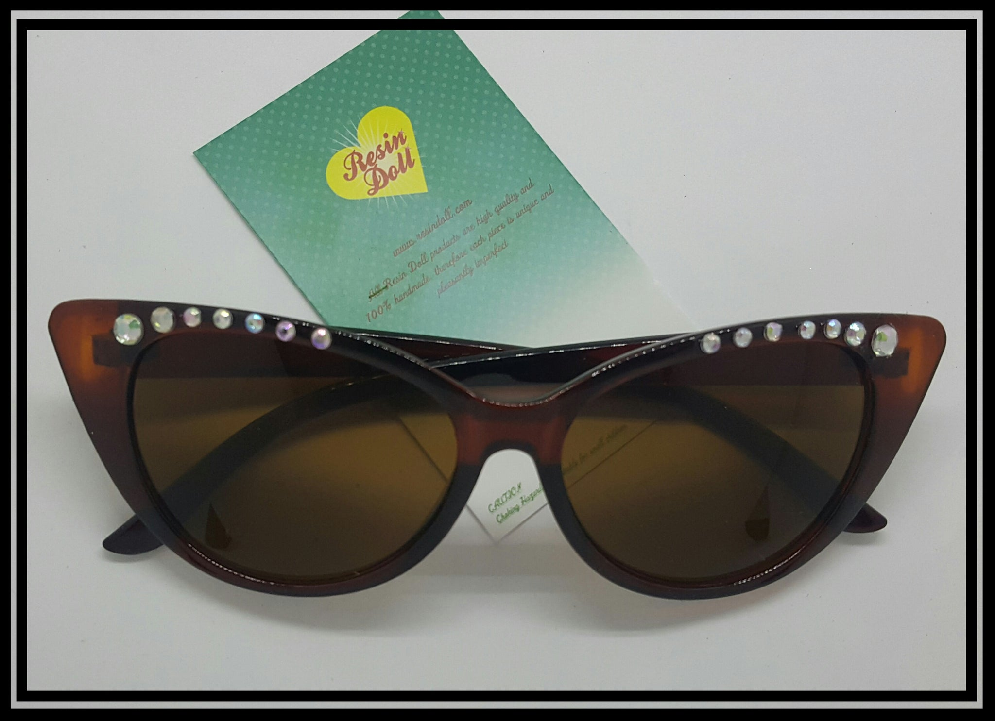 Simple bling Brown cat eye sunglasses