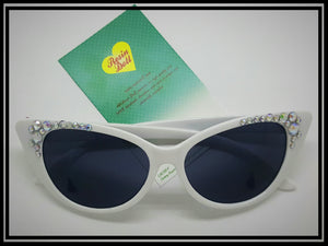 White frame glamour bling sunglasses