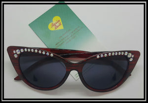 Red frame simple bling sunglasses