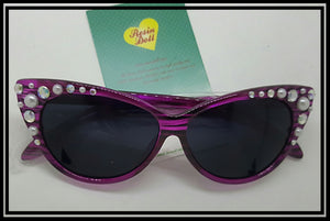 Pink/purple frame pearl and bling sunglasses