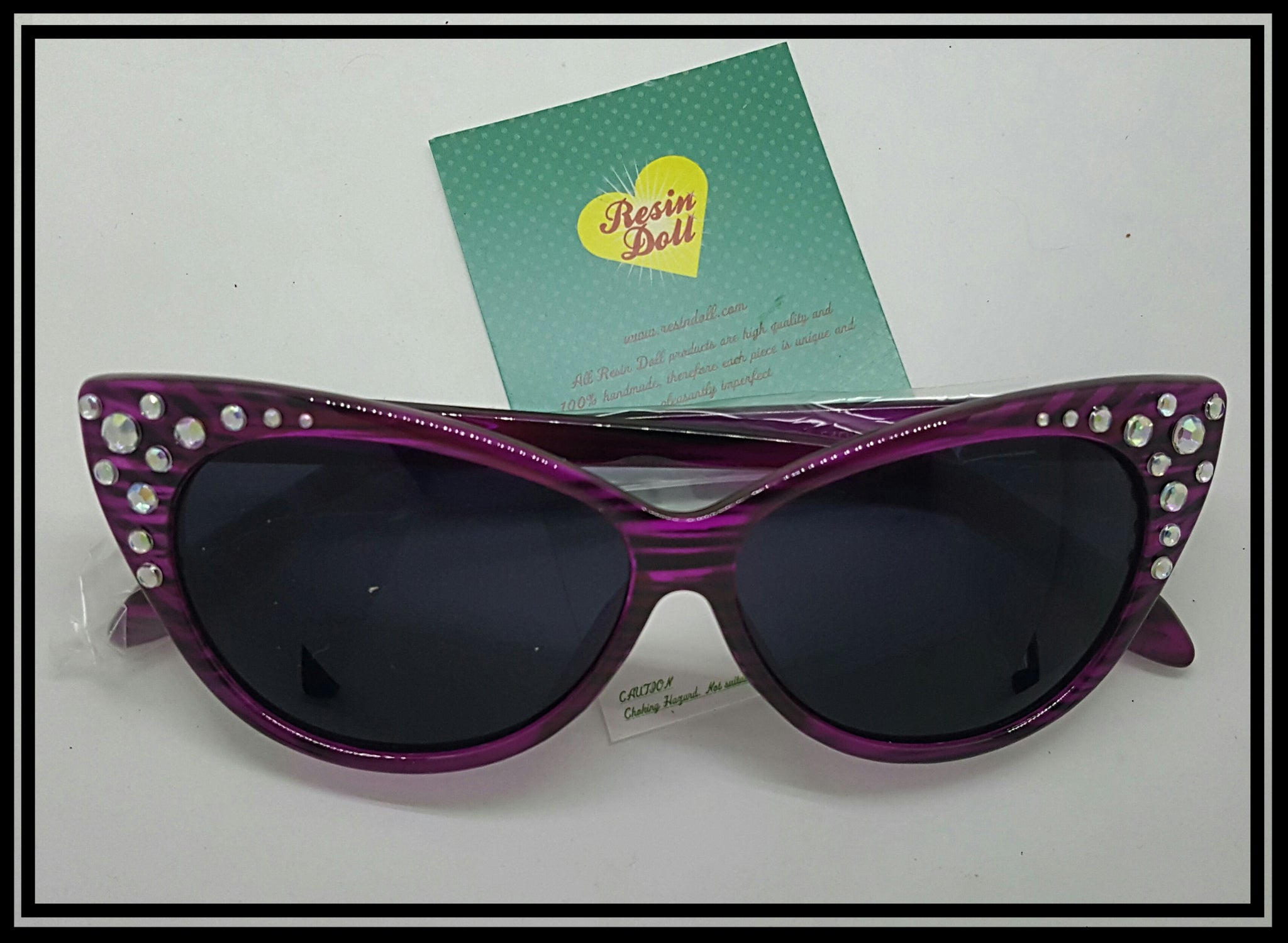 Pink/purple frame corner bling sunglasses