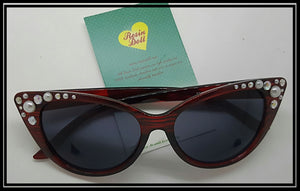 Red frame pearl and bling sunglasses
