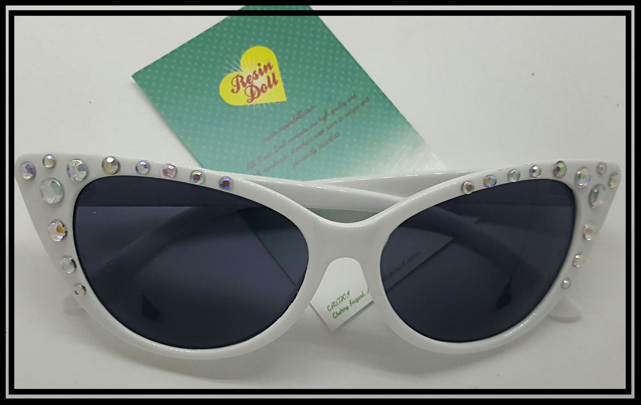 White frame full bling sunglasses