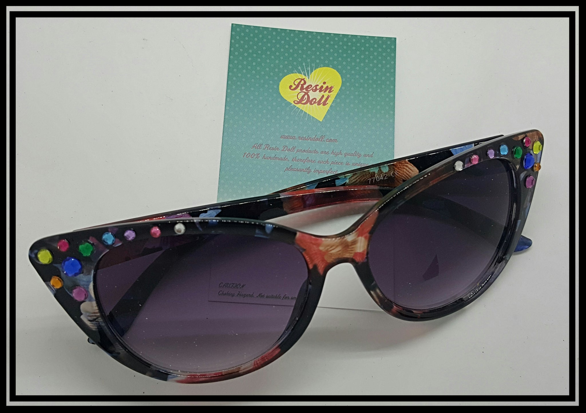 Rainbow bling on floral sunglasses
