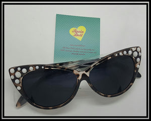 White bling on tortoise shell sunglasses