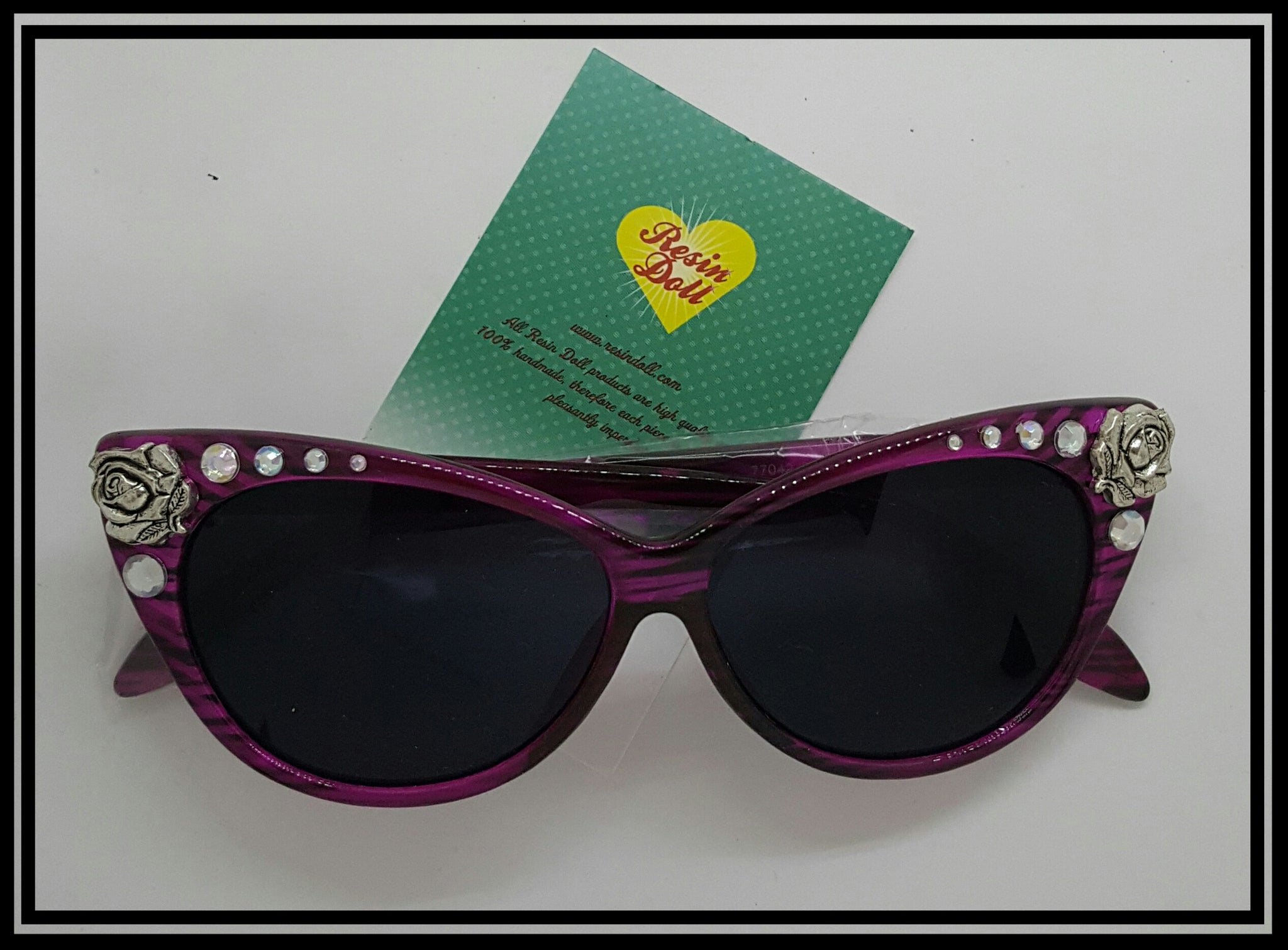 Pink frame double rose sunglasses