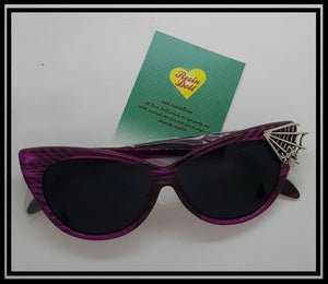 Pink frame spider web sunglasses