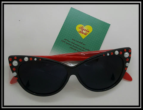 Red bling and pearl black frame red arm sunglasses