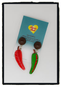 Red and Green chilli drop earrings (brown dome)