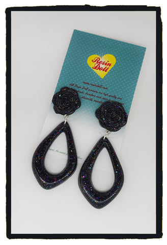 Black multi glitter floral drop earrings