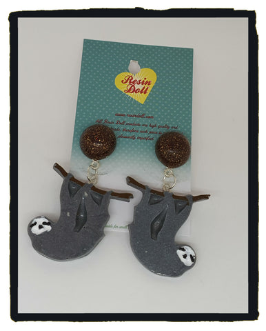Grey sloth drop earrings