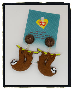 Two tone Brown sloth drop earrings