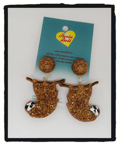 Brown confetti sloth drop earrings