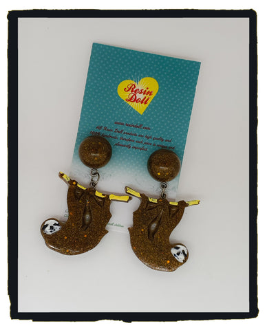 Brown sloth drop earrings