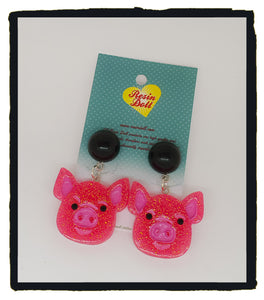 Dark Pink glitter pig drop earrings