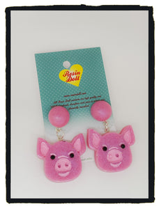 Pale Pink pig drop earrings