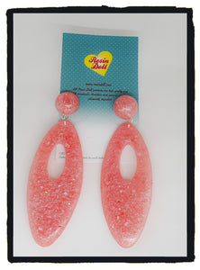 Watermelon confetti glitter large oval drop