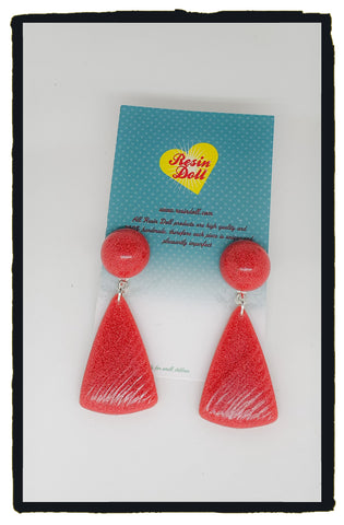 Watermelon carved drop earrings