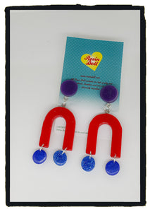 Red/blue/Purple U Turn drop earrings