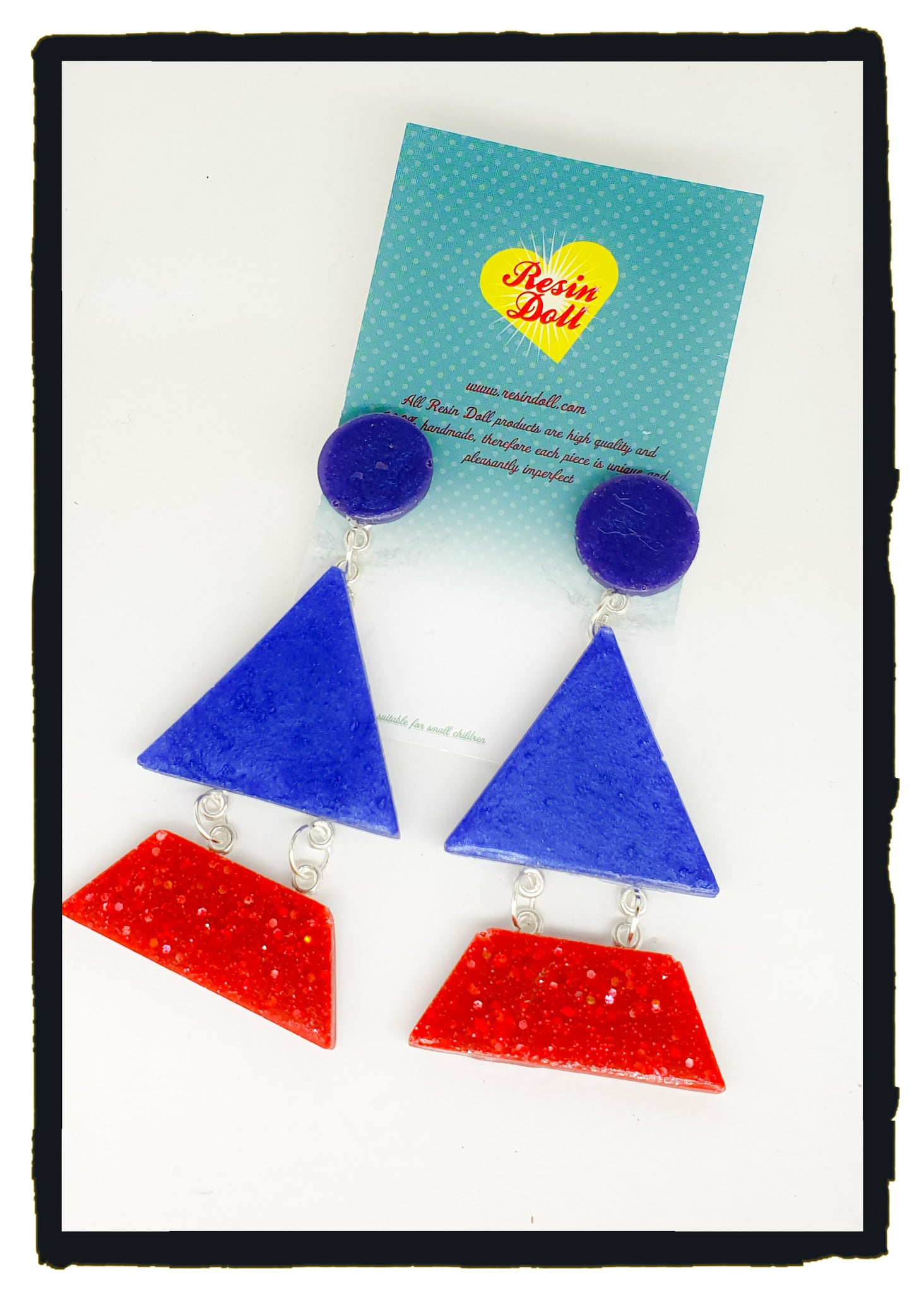 Red/blue/Purple Triangle-angle drop earrings