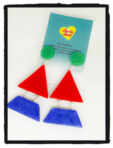 Blue/red/green Triangle-angle drop earrings