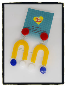 Yellow U Turn drop earrings