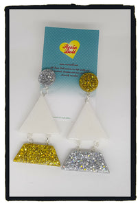 Metallics white/silver/gold Triangle-angle drop earrings