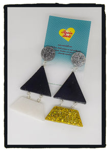 Metallics black/white/silver/gold Triangle-angle drop earrings