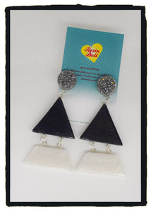 Metallics Black Triangle-angle drop earrings