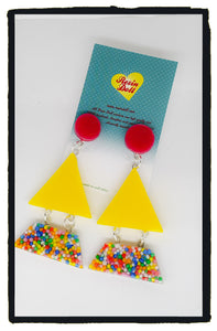 Sweet treats yellow Triangle-angle drop earrings