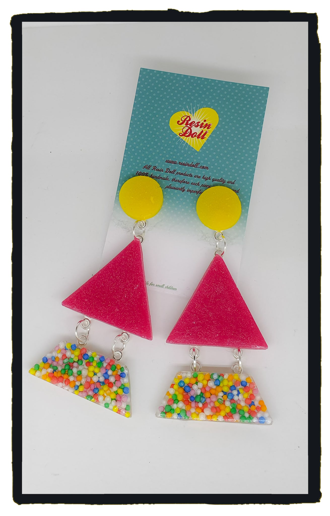 Sweet treats pink Triangle-angle drop earrings