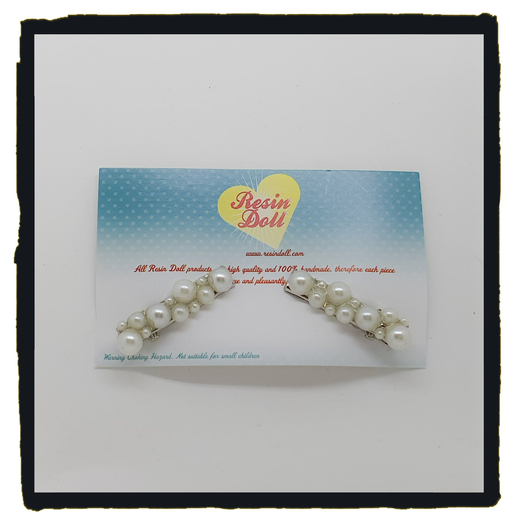 Faux Pearl pair of hair clips (3.5cm)