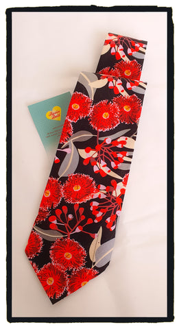 Red blossom neck tie