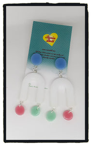Blue top pastels U Turn drop earrings