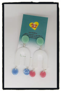 Mint top pastels U Turn drop earrings