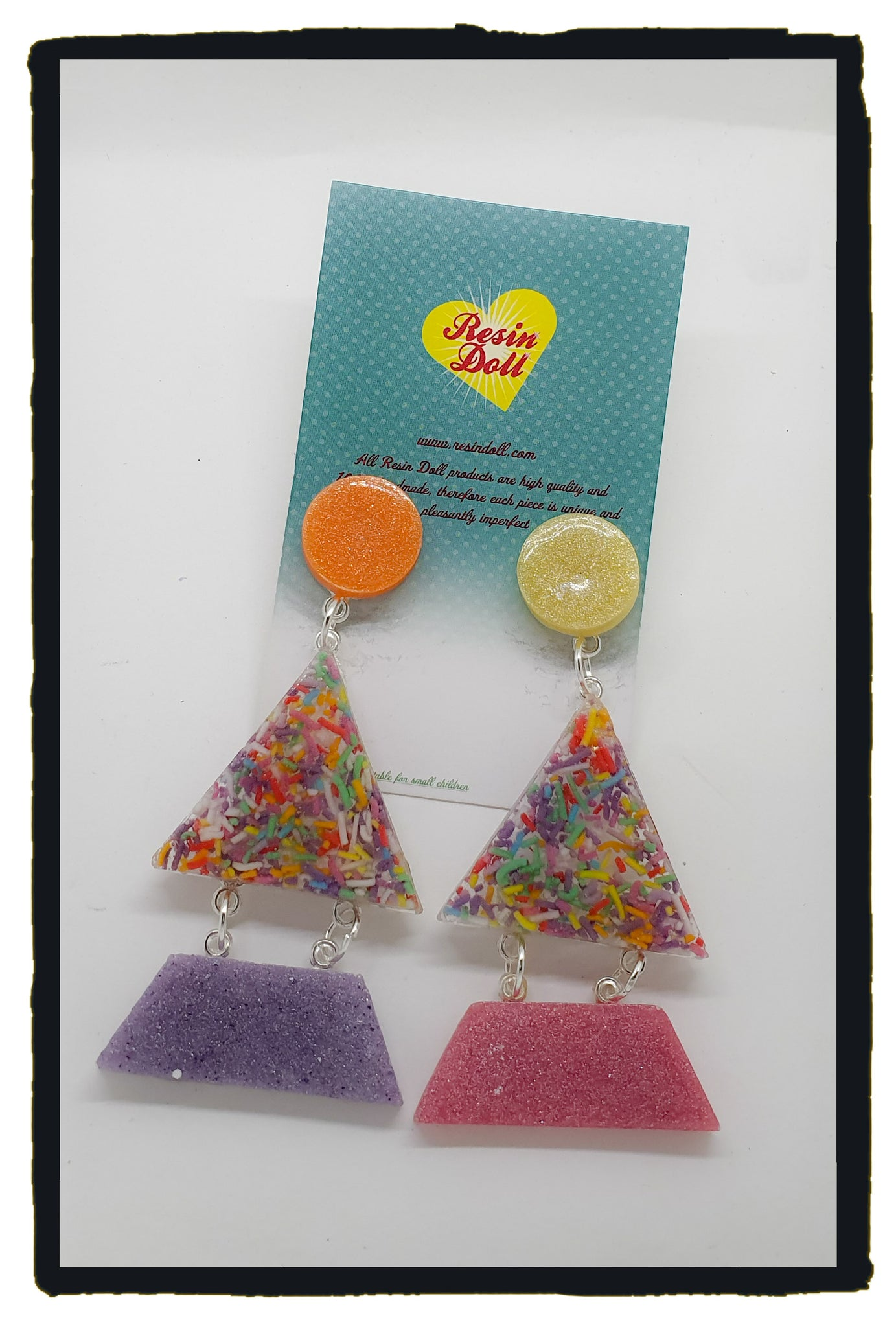Pastel sprinkles Triangle-angle drop earrings