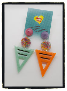 Pastel sprinkles To the point drop earrings (new design)
