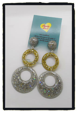 Silver and gold glitter Double round drop