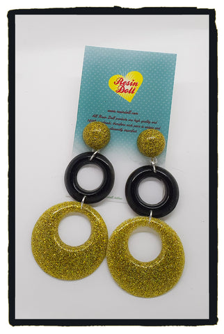 Black and gold glitter Double round drop