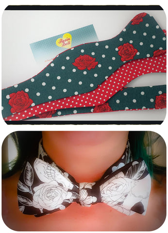 Green Polka dot and Roses reversible bow tie