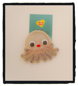 White jelly fish Brooch