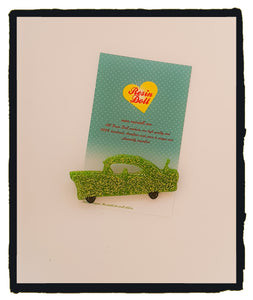 Green glitter car Brooch