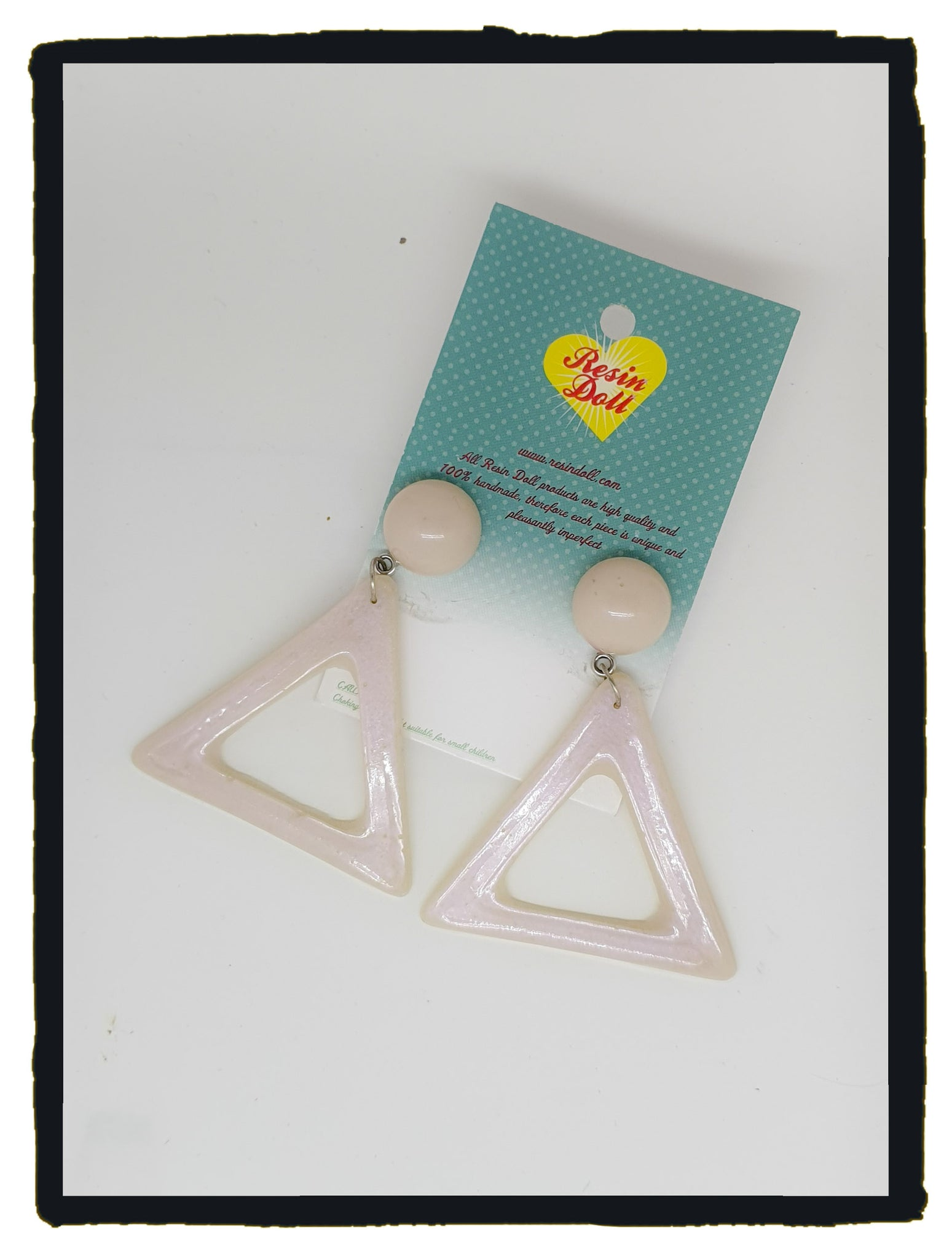White pearl triangle drop earrings